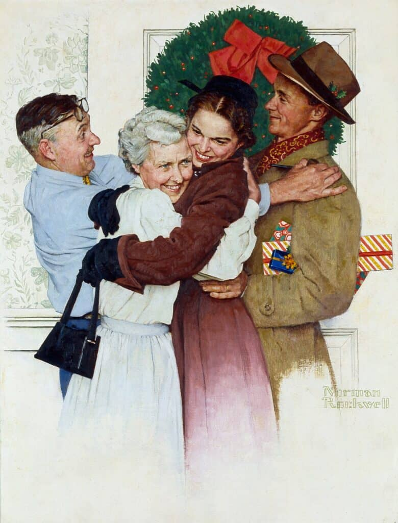 Norman Rockwell Home for Chrsitmas painting